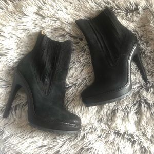Black Suede Textured Leather Bootie Heels